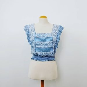 AMERICAN EAGLE   Embroidered Blue Crop Top Size M